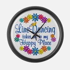 Line Dancing Happy Place Large Wall Clock