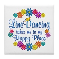 Line Dancing Happy Place Tile Coaster