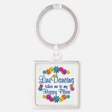 Line Dancing Happy Place Square Keychain