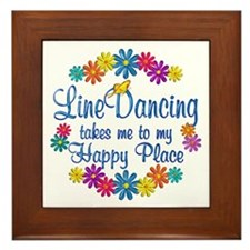 Line Dancing Happy Place Framed Tile