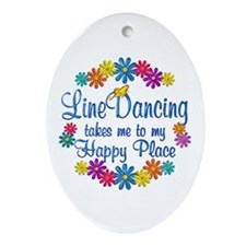 Line Dancing Happy Place Ornament (Oval)
