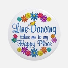Line Dancing Happy Place Ornament (Round)