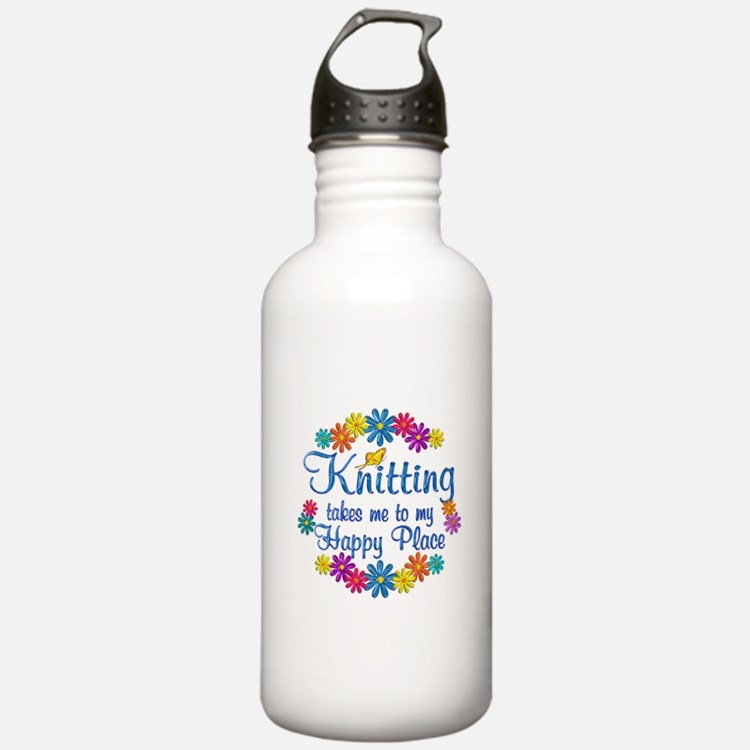 Knitting Happy Place Water Bottle