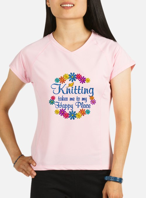 Knitting Happy Place Performance Dry T-Shirt
