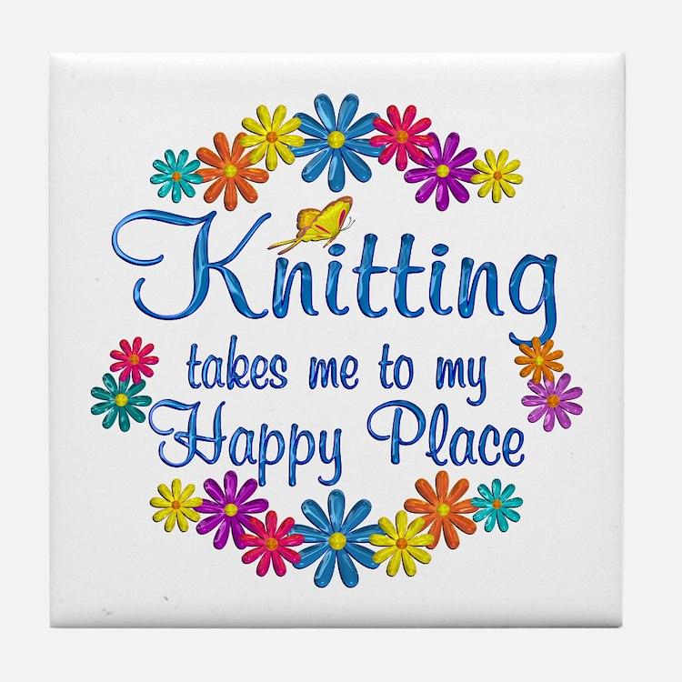 Knitting Happy Place Tile Coaster