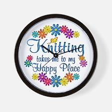 Knitting Happy Place Wall Clock