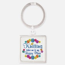 Knitting Happy Place Square Keychain