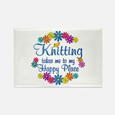 Knitting Happy Place Rectangle Magnet