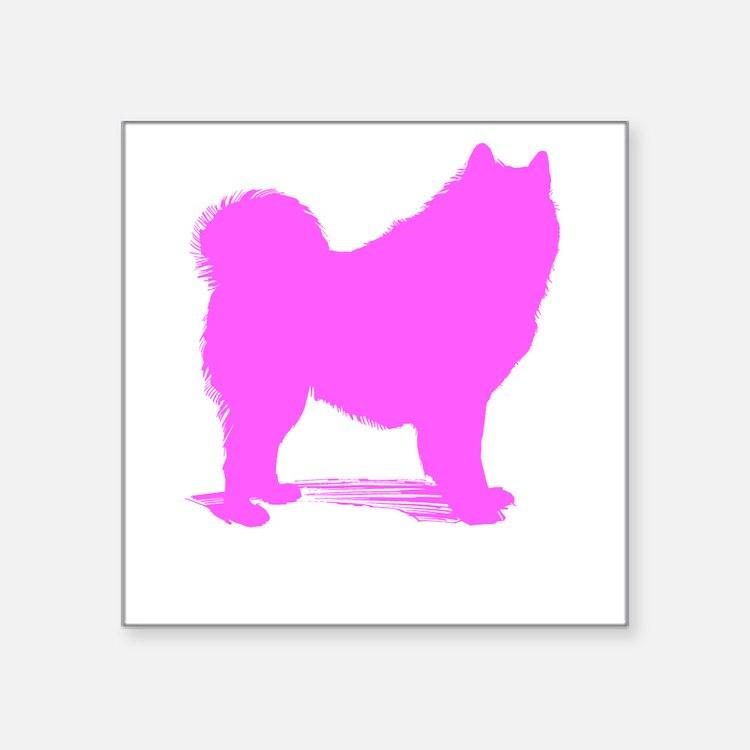 Pink Samoyed Silhouette Sticker