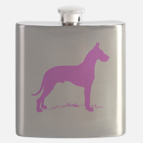 Pink Great Dane Silhouette Flask