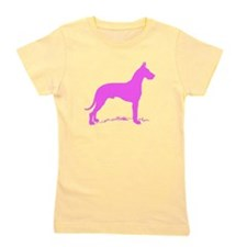 Pink Great Dane Silhouette Girl's Tee