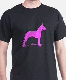 Pink Great Dane Silhouette T-Shirt