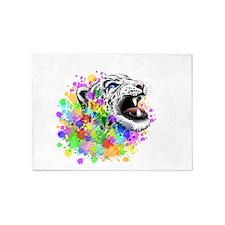 Leopard Psychedelic Paint Splats 5'x7'Area Rug
