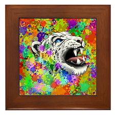 Leopard Psychedelic Paint Splats Framed Tile