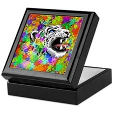 Leopard Psychedelic Paint Splats Keepsake Box
