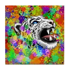 Leopard Psychedelic Paint Splats Tile Coaster