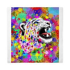 Leopard Psychedelic Paint Splats Queen Duvet