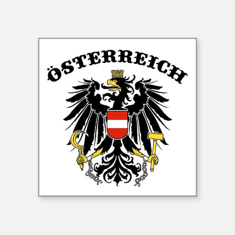 "Cute Austrian eagle Square Sticker 3"" x 3"""