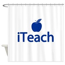 Blue iTeach Shower Curtain