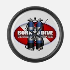 Born To Dive (ST) Large Wall Clock