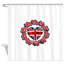 Union Jack Hearts Wreath Shower Curtain