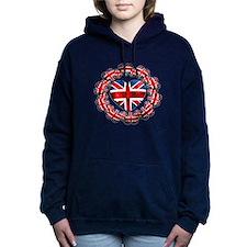 Union Jack Hearts Wreath Women's Hooded Sweatshirt