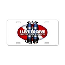 Live To Dive (ST) Aluminum License Plate