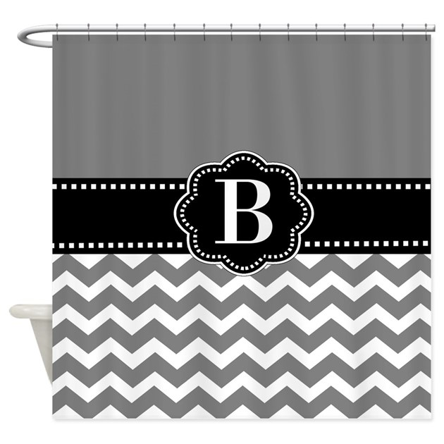 Black Gray Chevron Monogram Shower Curtain By