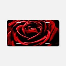 Single Red Rose Aluminum License Plate