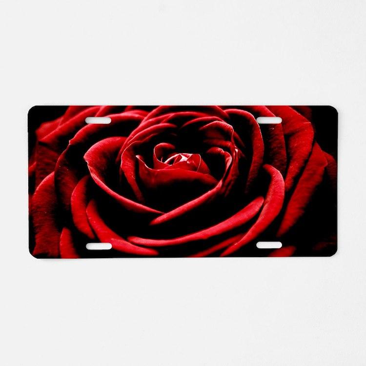Single Red Rose Aluminum License Plate