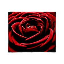 Single Red Rose Throw Blanket
