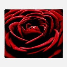 Single Red Rose Throw Blanket