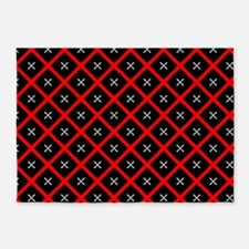 Black and Red Diamond Pattern 5'x7'Area Rug