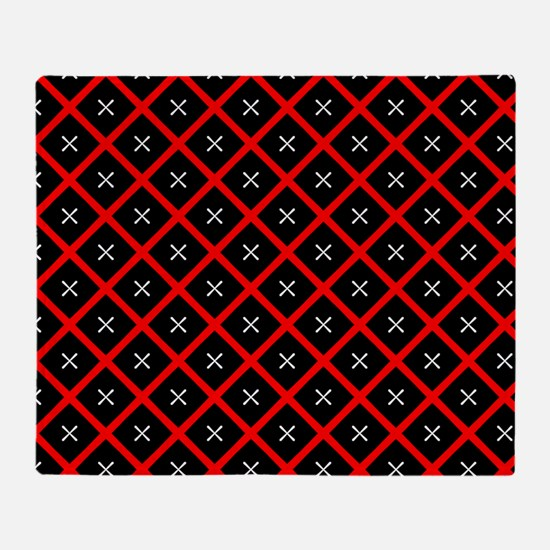 Black and Red Diamond Pattern Throw Blanket