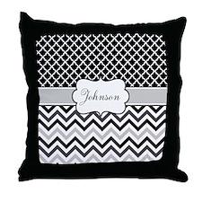 Gray Black Chevron Personalized Throw Pillow