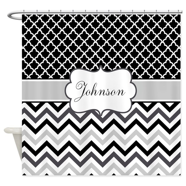 Gray Black Chevron Personalized Shower Curtain By CupcakesandSprinklesBirthda