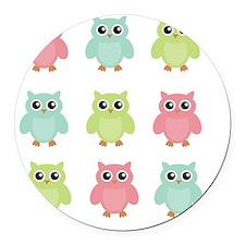 owls Round Car Magnet