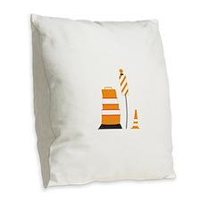 Safety Cones Burlap Throw Pillow
