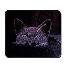 Black Cat Peeking Mousepad