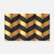 Black and Gold Rectangle Car Magnet