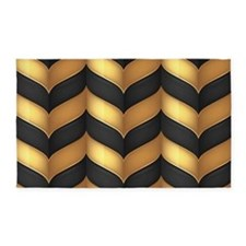 Black and Gold 3'x5' Area Rug
