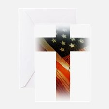 Flag in Cross Greeting Cards
