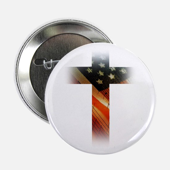 """Flag in Cross 2.25"""" Button"""