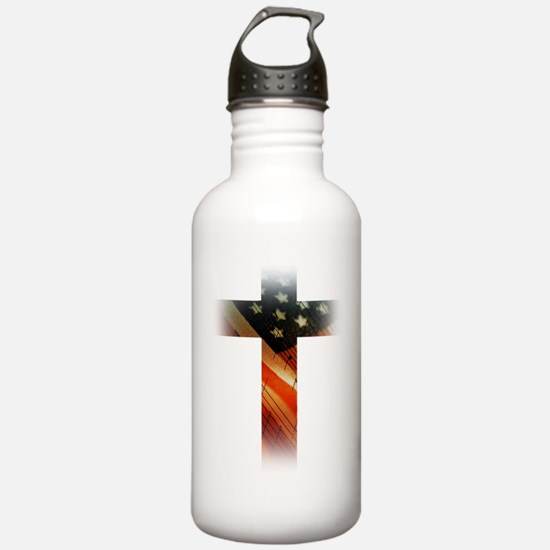 Flag in Cross Water Bottle