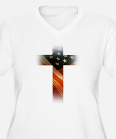 Flag in Cross Plus Size T-Shirt