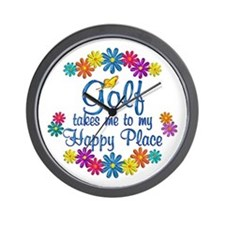Golf Happy Place Wall Clock