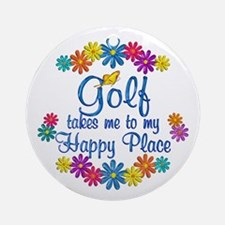 Golf Happy Place Ornament (Round)