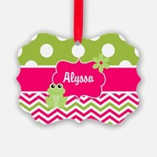 Pink Green Chevron Frog Personalized Ornament