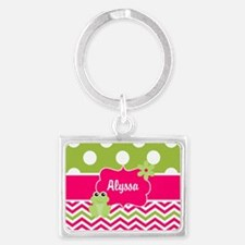 Pink Green Chevron Frog Personalized Keychains