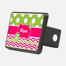 Pink Green Chevron Frog Personalized Hitch Cover